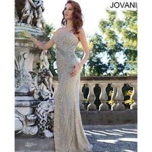 Jovani 73306A Ivory beaded dress size 10